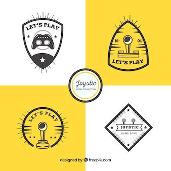 Kolekcja szablon logo rocznika joysticka