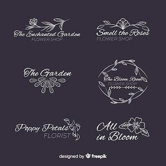 Kolekcja szablon logo ślub kwiaciarni