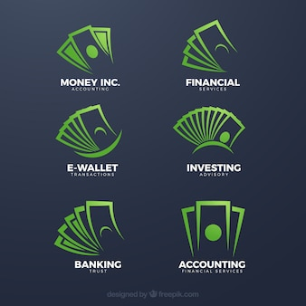 Kolekcja szablon logo zielony pieniądze
