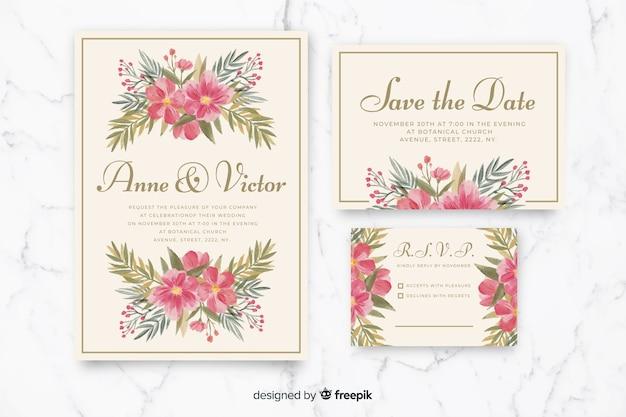 Kolekcja szablon papeterii ślubnej akwarela