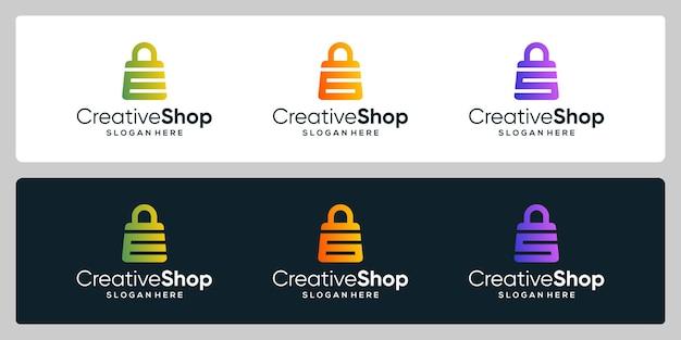 Kolekcja szablon projekt logo torba na zakupy streszczenie z symbolem początkowej litery. projekt wizytówki.