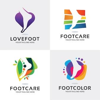 Kolekcja szablon projektu zestaw logo pielęgnacja stóp