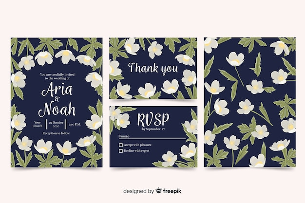 Kolekcja szablon stacjonarny ślub kwiatowy