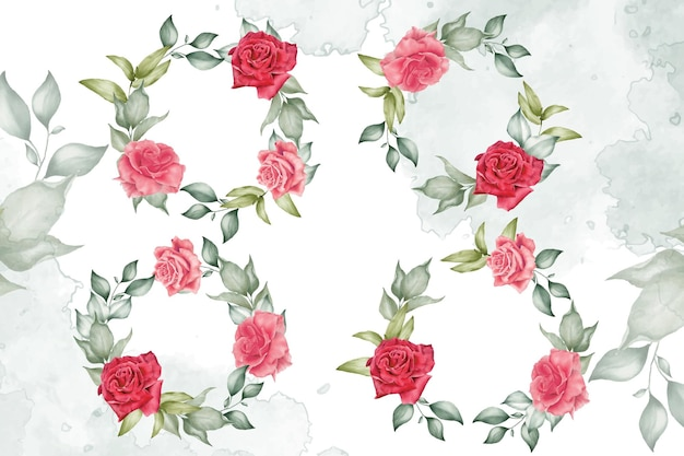 Kolekcja szablonów akwarela wieniec kwiatowy do dekoracji zaproszenia ślubne