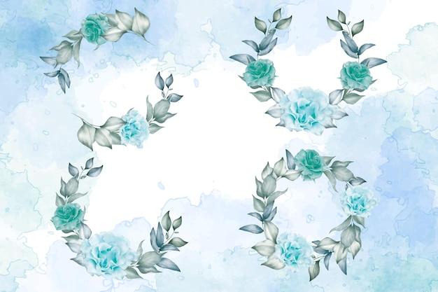 Kolekcja szablonów akwarela wieniec kwiatowy