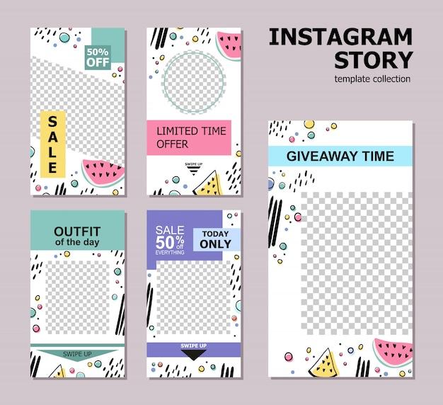 Kolekcja szablonów artykułów na instagramie