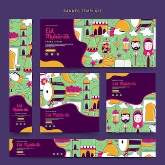 Kolekcja szablonów banerów internetowych eid mubarak