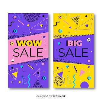 Kolekcja szablonów banerów sprzedaży memphis