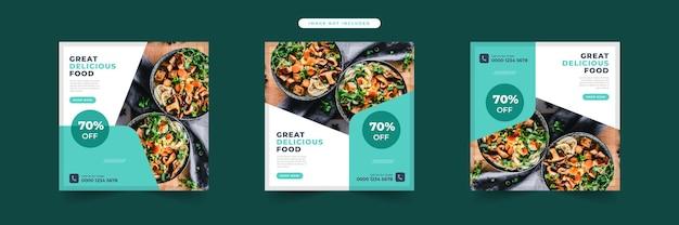 Kolekcja szablonów banerów z menu żywności w mediach społecznościowych