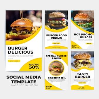 Kolekcja szablonów burger instagram stories