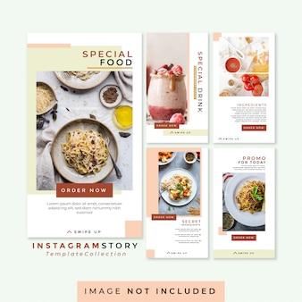 Kolekcja szablonów do artykułów spożywczych i napojów na instagram story