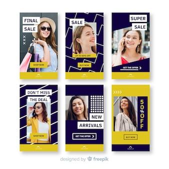 Kolekcja szablonów do sprzedaży opowiadań na instagramie