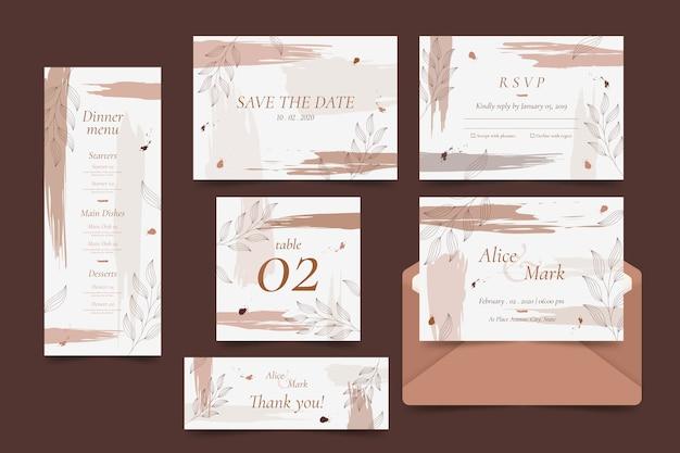 Kolekcja szablonów elegancki ślub