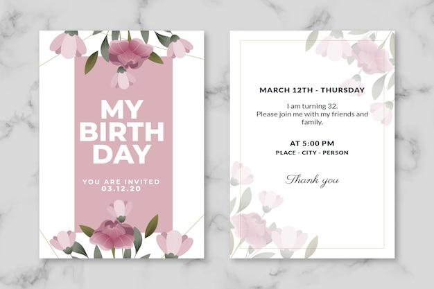 Kolekcja szablonów elegancki urodziny zaproszenie