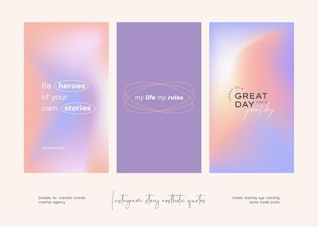 Kolekcja szablonów estetycznych cytatów na instagramie