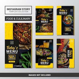 Kolekcja szablonów food instagram stories