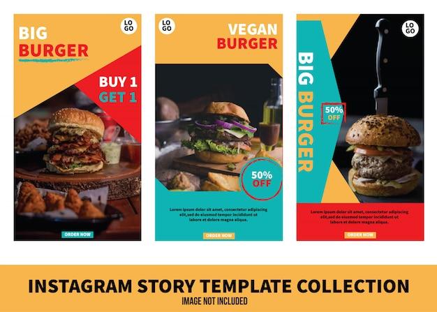 Kolekcja Szablonów Historii Burger Instagram Premium Wektorów