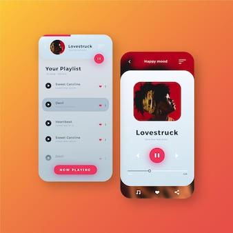 Kolekcja szablonów interfejsów aplikacji odtwarzacza muzyki