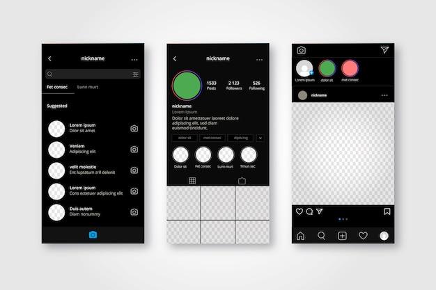Kolekcja szablonów interfejsów profilu na instagramie