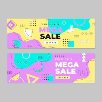 Kolekcja szablonów internetowych banner sprzedaży mega