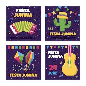 Kolekcja szablonów kart festa junina