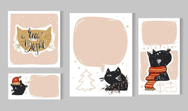 Kolekcja szablonów kart świątecznych. zestaw plakatów świątecznych. kolekcja świąt zimowych. pozdrowienia sezonowe scrapbooking z czarnym kotem