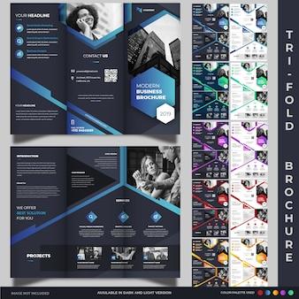 Kolekcja szablonów korporacyjnych trifold broszury