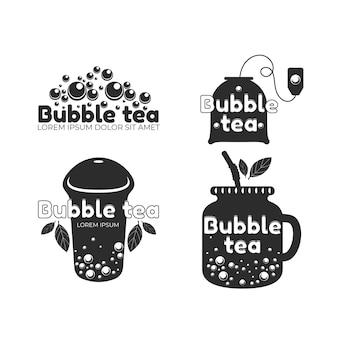 Kolekcja szablonów logo bańki herbaty