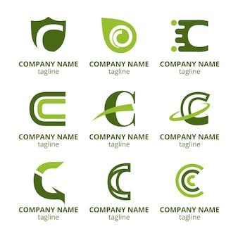Kolekcja szablonów logo c płaska konstrukcja