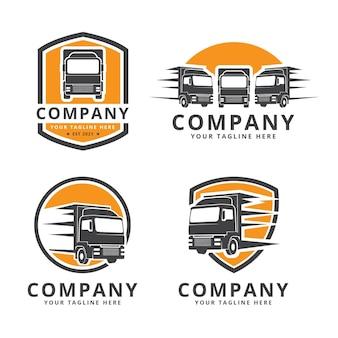 Kolekcja szablonów logo ciężarówki płaskiej
