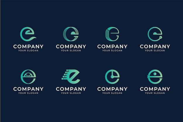 Kolekcja szablonów logo e gradientu