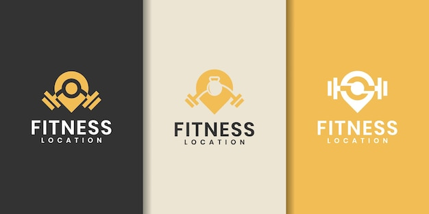 Kolekcja szablonów logo fitness pin - wektor