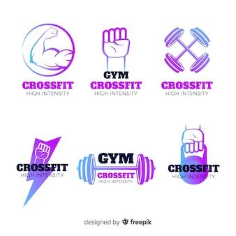 Kolekcja szablonów logo gradientu crossfit