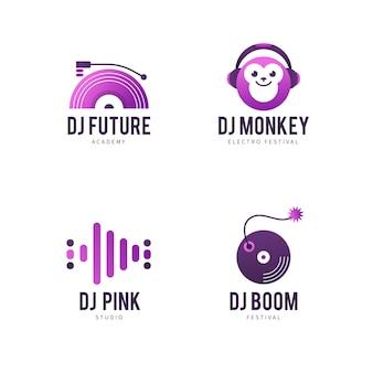 Kolekcja szablonów logo gradientu dj