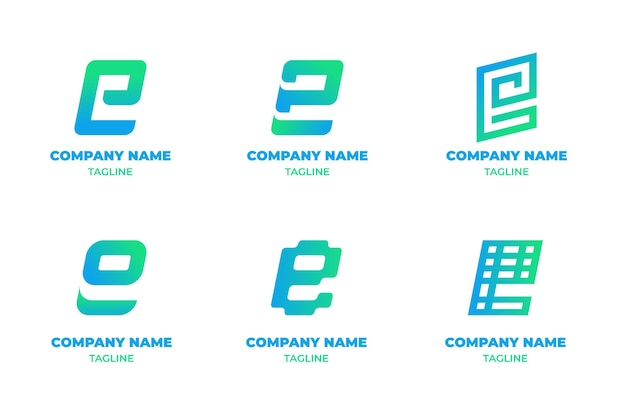 Kolekcja szablonów logo gradientu e