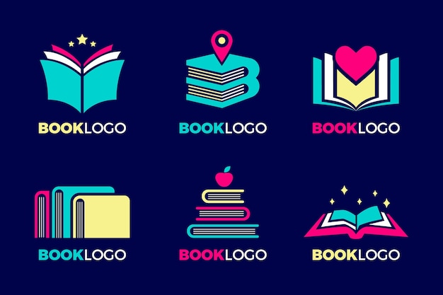 Kolekcja szablonów logo kreatywnych książek