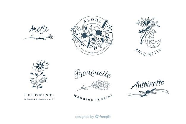 Kolekcja szablonów logo kwiaciarnia ślub
