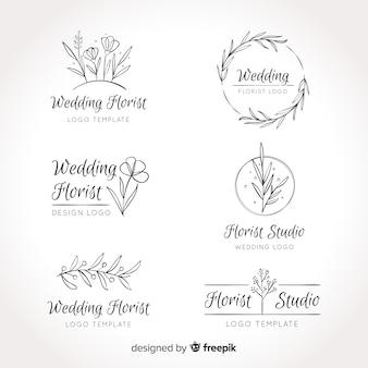 Kolekcja szablonów logo kwiaciarnia ślubna