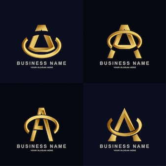 Kolekcja szablonów logo litery a w eleganckim złotym kolorze