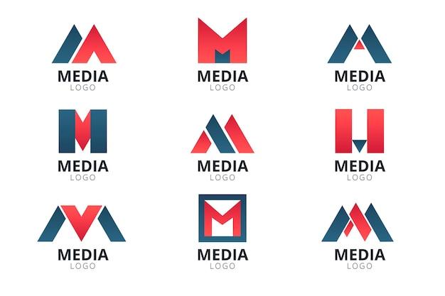 Kolekcja szablonów logo m płaska konstrukcja