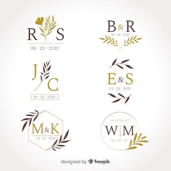 Kolekcja szablonów logo monogram ślubu
