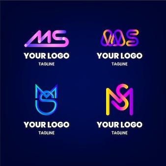 Kolekcja szablonów logo ms gradientu