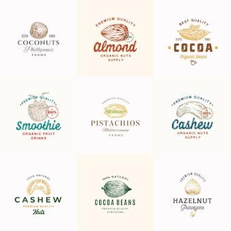 Kolekcja szablonów logo najwyższej jakości orzechów kakaowych i kokosowych