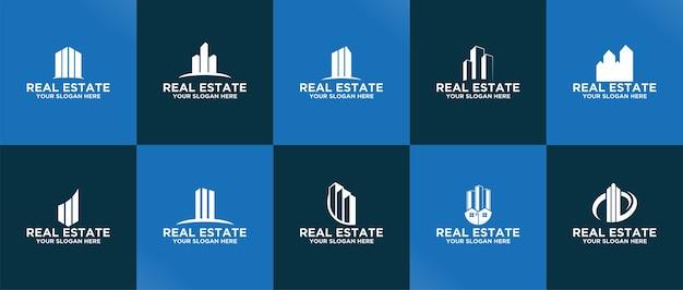 Kolekcja szablonów logo nieruchomości premium