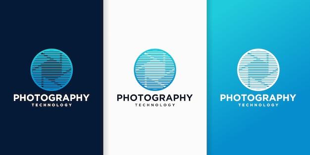 Kolekcja Szablonów Logo Obiektyw Aparatu Fotograficznego Premium Wektorów