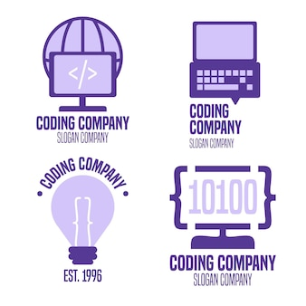 Kolekcja szablonów logo płaski kod