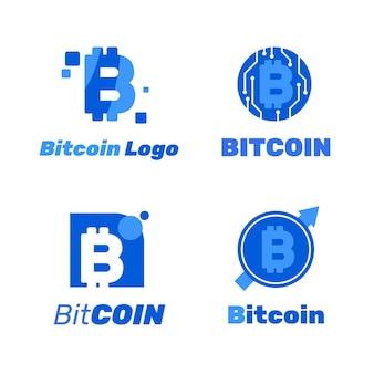 Kolekcja szablonów logo płaskie bitcoin
