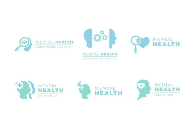 Kolekcja szablonów logo płaskie zdrowie psychiczne