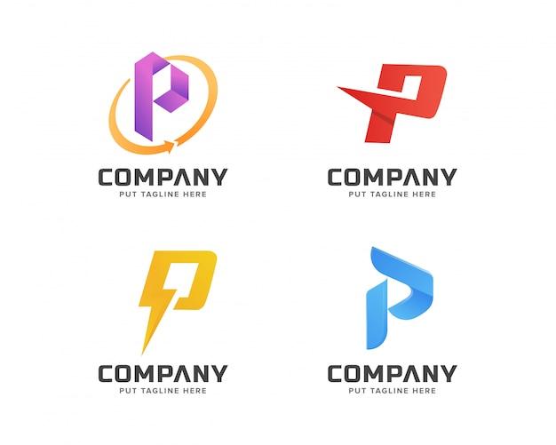 Kolekcja szablonów logo początkowej litery p, abstrakcyjne logo firmy biznesowej
