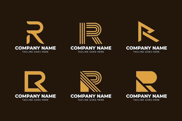 Kolekcja szablonów logo r płaska konstrukcja